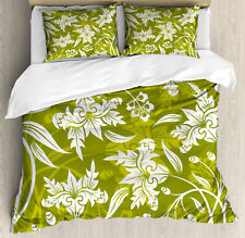 Floral Duvet Cover Set with Pillow Shams Green Flower Pattern Print