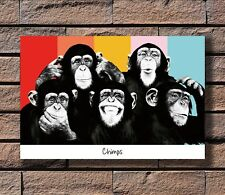 The Chimps Funny Monkey Face Print 20x30 24x36 40in Silk Poster KX857
