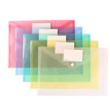 A4 Clear Document Bag Paper File Folder Stationery School Office Case PP 6colors