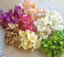 50 Artificial Mulberry Paper  flowers Lily Handmade Scrap-booking Craft 45 mm #C