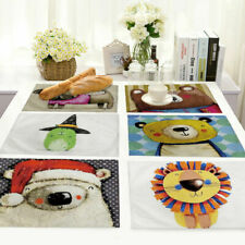 Animal Cotton Linen Placemats Dining Room Table Mat Heat Insulation Kitchen MC36