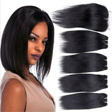 8A Straight Brazilian 100% Human Hair Extension 4Bundles With Lace Closure Weave