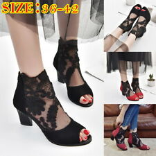 Ladies Mesh Lace Sandals Block Heels Shallow Mouth Nightclub Fish Mouth Shoes US