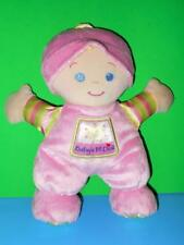 Baby First Doll Blonde Hair Pink Plush Stuffed Rattle Doll Fisher Price 2008 10""