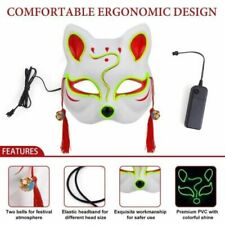 Halloween Cosplay Led Glow Mask Scary Wire Fox Unique Decorative Party Facemask