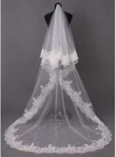 2 Tier veil Ivory/White Cathedral Wedding Bridal Veils Lace edge Veils with Comb