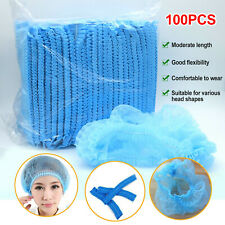 100PC Disposable Hair Net Dust Proof Cap Industrial Medical Non-Woven Stretch