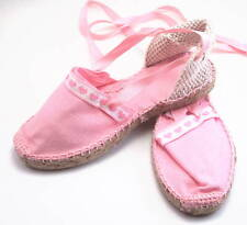 DE OSU Spain - Girls Pink Cotton Espadrilles with Hearts & Ribbons - Euro 24-33