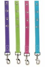Zack Zoey Dog Leash Lead  Faux Leather  Paws green pink