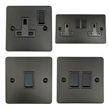 G&H Flat Plate Matt Black Light Switches & Sockets