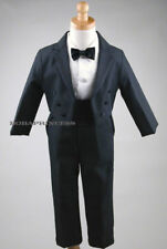 INFANT BOY 5 Pcs Tail TUXEDO BLACK w/Cummerbund S/M/L/XL Wedding/Holiday