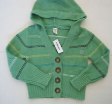 OLD NAVY GIRL GREEN STRIPED HOODED CARDIGAN SWEATER NWT