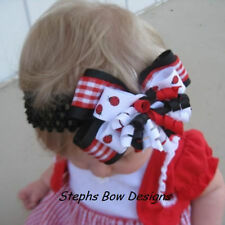 LADYBUG LAYERED KORKER HAIR BOW HEADBAND CLIP LADYBUGS