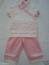 PInk heart & flower print top with capri pants BNWT
