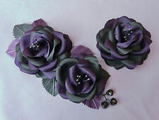 BLACK PURPLE Rose Hair Flower Wrist Corsage Headdress