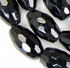 5x8mm Faceted Black Agate Barrel Beads 16""