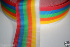 "3in WEB 75mm, 3"" WEBBING MULTI COLOUR RAINBOW per METRE"