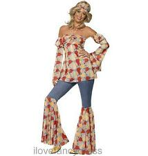LADIES 1970S VINTAGE HIPPY FANCY DRESS COSTUME S M L