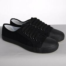 BLACK PLIMSOLES PLIMSOLLS PUMPS TRAINERS LACE UP NEW CANVAS FLAT SHOES MEN WOMEN