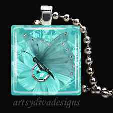 JEWEL BUTTERFLY GLASS TILE PENDANT NECKLACE KEYCHAIN