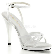 PLEASER Womens Sexy White High Heels Evening Sandals Strappy Low Platform Shoes