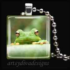 """""""GREEN FROG"""" GLASS TILE PENDANT NECKLACE KEYCHAIN"""