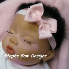 SOFT PINK WHITE DOTS DAINTY HAIR BOW LACE HEADBAND