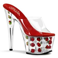 "PLEASER Women's 7"" High Heels Mini Flower Red Rose Platform Sexy Slip On Shoes"