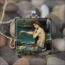 """MERMAID"" John Waterhouse GLASS TILE PENDANT NECKLACE"