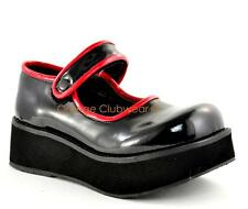 DEMONIA SPRITE-01 Womens Platforms Gothic Punk Black Red Mary Janes Shoes SIZE 6