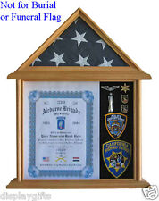 Solid Wood Shadow Box for 3' X 5' flag folded, NOT for Burial Flag, Glass :F11