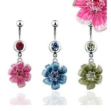 CZ FLOWER BELLY NAVEL RING DANGLE GEM CENTER BUTTON PIERCING JEWELRY B542