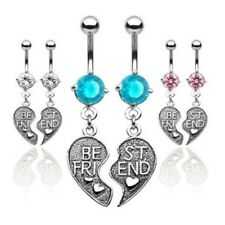 PAIR BEST FRIEND HEART CZ BELLY NAVEL RING CHARM BFF SET BUTTON PIERCING B545