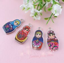 50X Two-Sided Mix Color Enamel Matryoshk Russian Doll Charms