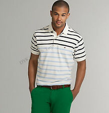 NEW TOMMY HILFIGER MEN'S MESH STRIPE POLO SHIRT