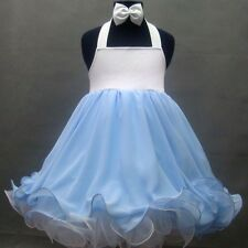 National State Pageant Baby Doll Dress Halter Shell * 1-2, 3-4, 4-6T *(Wt Blue)