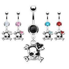 EMO SKULL GEM HEART BELLY NAVEL RING CZ DANGLE BUTTON PIERCING JEWELRY B74