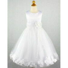 WHITE  Petals Flower Girl Dress First Communion: Sz 0 – 12 *140*
