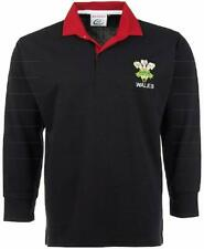 WALES WELSH ADULTS BLACK  RUGBY SHIRT FEATHERS FULL SLEEVE S M L XL XXL 3XL 4XL