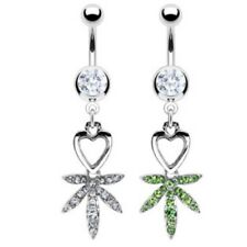 POT LEAF HEART BELLY NAVEL RING GEM PAVED CZ DANGLE BUTTON PIERCING JEWELRY B82