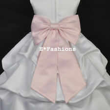 PINK SATIN TIE BOW SASH FOR WEDDING FLOWER GIRL DRESS sz. S M L 2 4 6 8 10 12 14