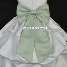 SAGE GREEN TIE BOW SASH FOR HOLIDAY FLOWER GIRL DRESS sz S M L 2 4 6 8 10 12 14