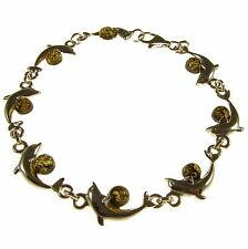 FASHIONABLE BALTIC AMBER STERLING SILVER 925 DESIGNER DOLPHIN BRACELET JEWELLERY
