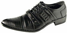 BUCKLE OXFORD LACE UP  BLACK MEN DRESS SHOES ITALIAN STYLE COMFORTABLE SHOES