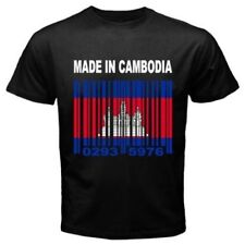 MADE IN CAMBODIA Cambodian Khmer Barcode Country Flag CUSTOM Black T-shirt Y16