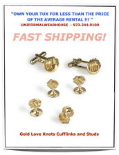 Deluxe Braided Wire LOVE KNOT Tuxedo Cufflinks Stud Set NEW Gold or Silver