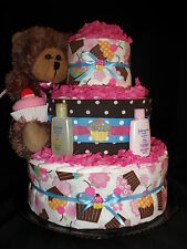 Pink and Brown Cupcake Theme Diapercake