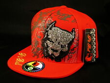 Pit Bull on Red Flat Brim Hip Hop Hat from Pit Bull Bling Jewels Enbroidered