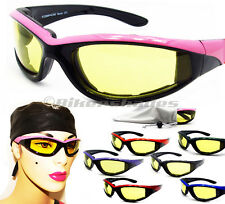 Womens Padded Motorcycle Yellow Lens Day Night Riding Glasses Sunglasses Goggles