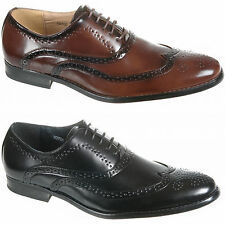 Mens Formal Lace Up Brogues in Black or Brown Size 6, 7, 8, 9, 10, 11, 12